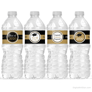 Black and Gold Graduation Water Bottle Wrappers