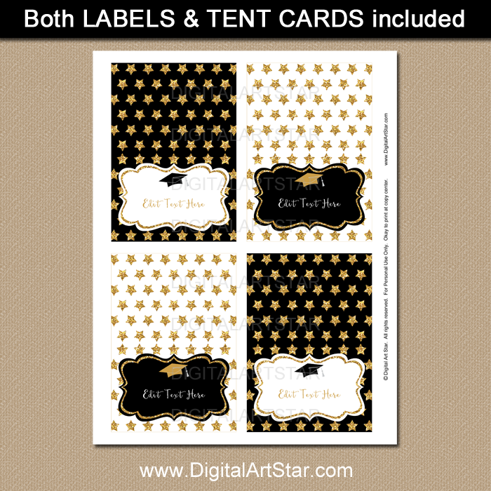 Printable Black and Gold Graduation Food Tents