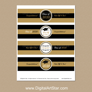 Black and Gold Graduation Party Water Bottle Labels Printable PDF