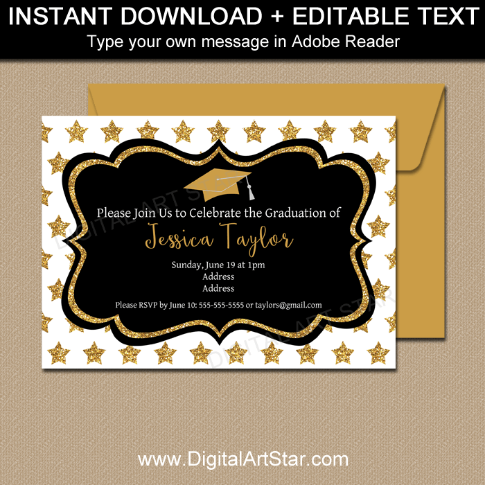 Black and Gold Graduation Stars Invitation Template