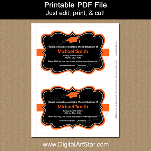 Printable White Black Orange Graduation Invitation Template