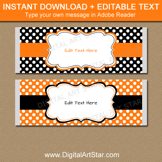 Black and Orange Candy Bar Wrappers with White Polka Dots