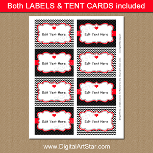 Black and Red Valentines Day Labels