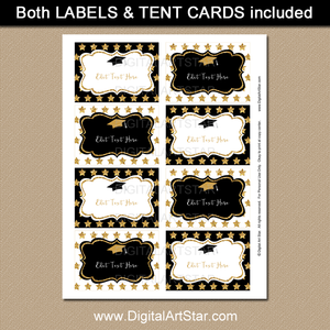 Graduation Candy Buffet Labels - Black and White with Gold Accents