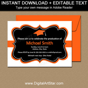 Black and White Graduation Party Invitations with Orange Accents