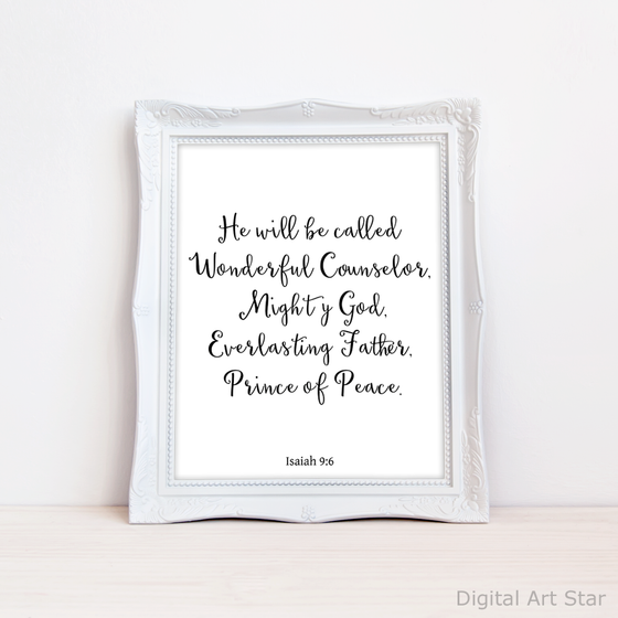 Christmas Wall Art Printable - Isaiah 9:6