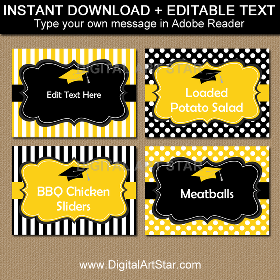 Black and Yellow Graduation Candy Buffet Labels