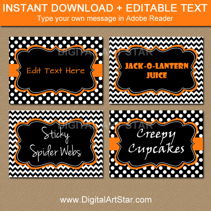 printable black food labels with orange accents