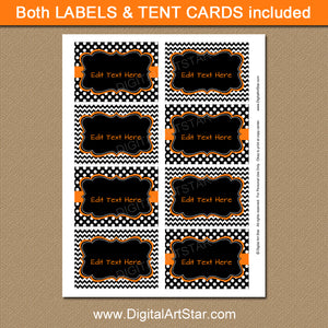 black Halloween tent cards with Editable Text