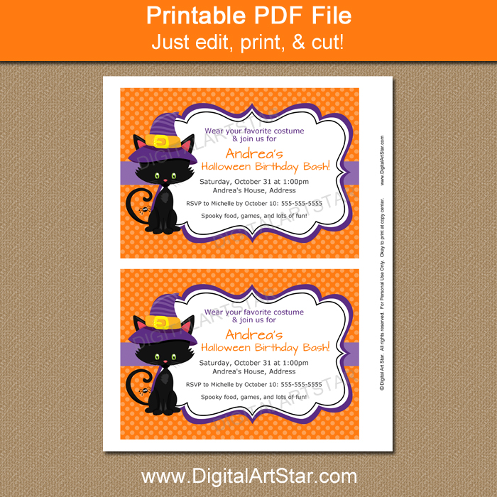 Girl Halloween Party Invitations
