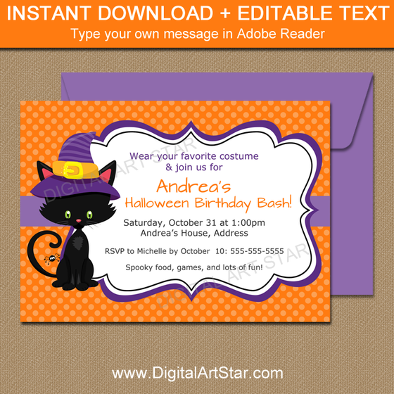 Black Cat Halloween Birthday Invitations