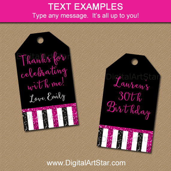 Black Fuchsia 30th Birthday Thank You Tags
