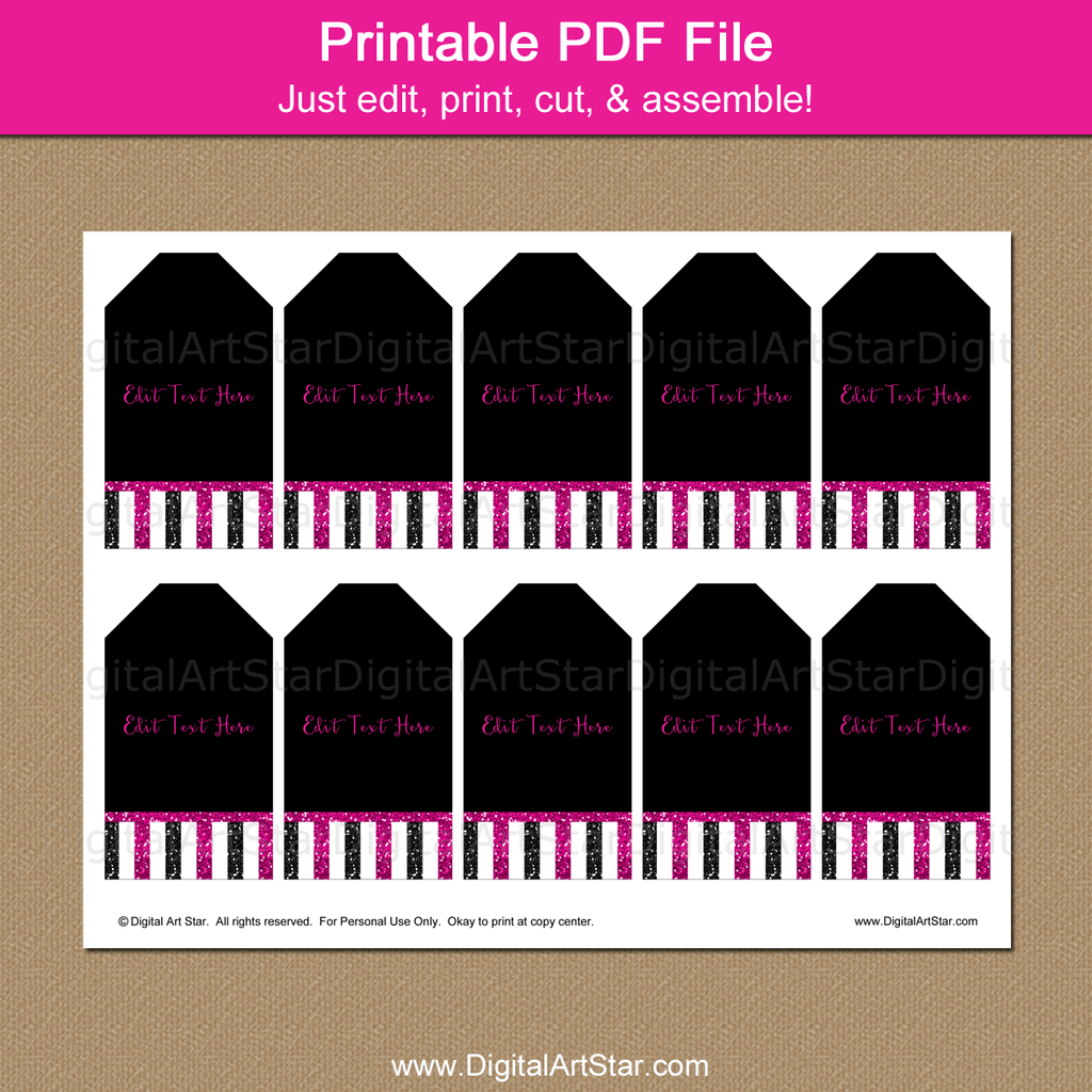 Black and Fuchsia Birthday Party Tags Printable