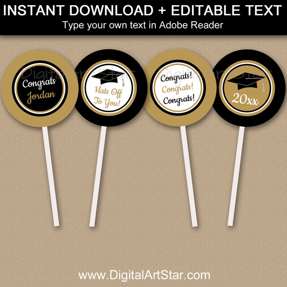 Formal Graduation Cupcake Toppers Printable in Black and Gold