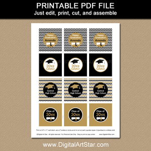 Printable Black and Gold Graduation Cupcake Toppers Editable Template