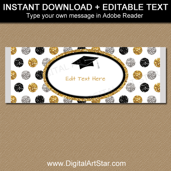 Black Gold Silver Glitter Graduation Chocolate Bar Wrappers