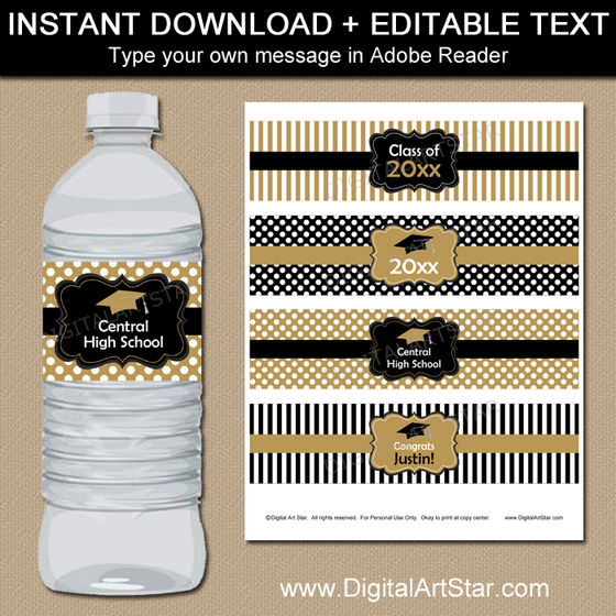 Black Gold White Graduation Water Bottle Labels