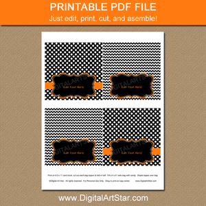 Printable Black and Orange Bag Toppers