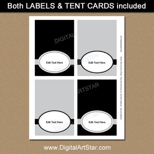 Black and Silver Birthday Place Cards Template