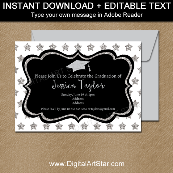 Instant Download Black White and Silver Graduation Invitation Template