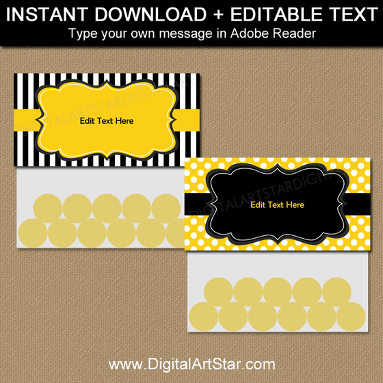 Editable Black and Yellow Bag Toppers Template