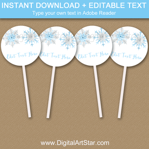 Blue and Silver Snowflake Cupcake Toppers Printable Decorations