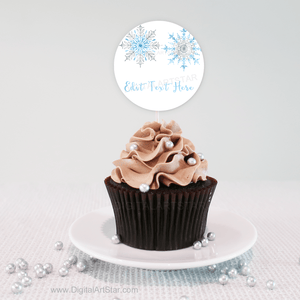 Blue Silver White Winter Cupcake Toppers Decorations Snowflakes