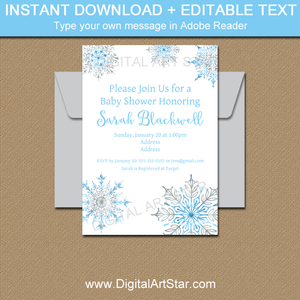Blue and Silver Snowflake Invitations