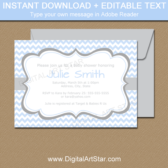 Blue Baby Shower Invitation Instant Download