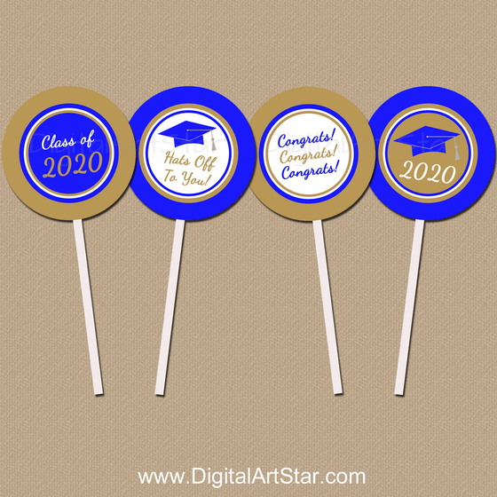 Royal Blue and Gold Graduation Cupcake Toppers DIY
