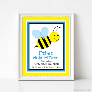 Boy Birth Stats Print with Bee for Nursery Wall Decor