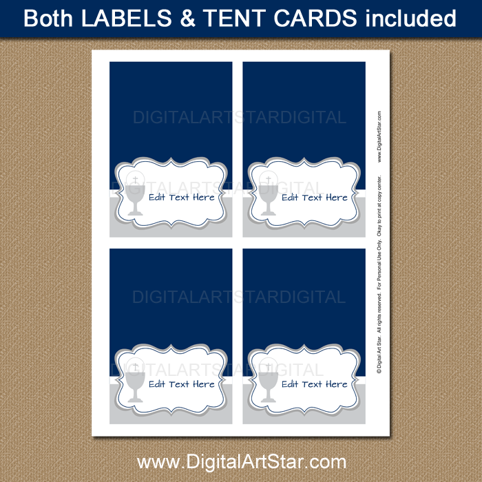 Navy and Gray First Communion Tent Cards