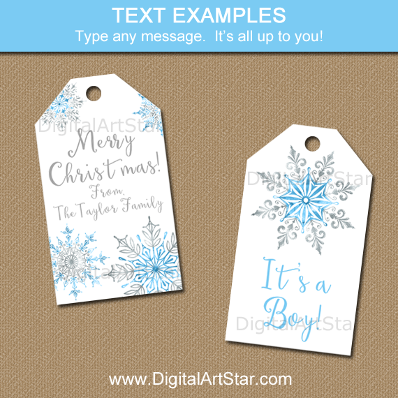 Snowflake Tags for Christmas, Baby Shower, Winter Wedding, 1st Birthday