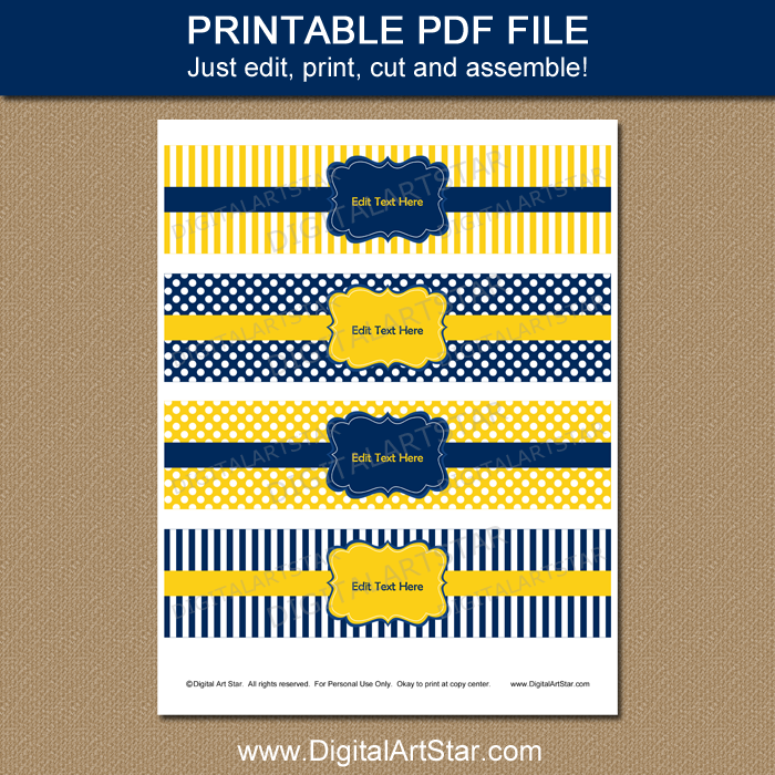 Navy Blue and Yellow Water Bottle Label Template