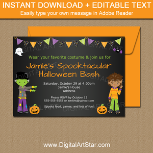 Boy Halloween Party Invitations