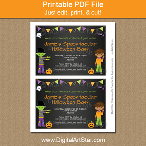 Boy Halloween Invitation Printable PDF
