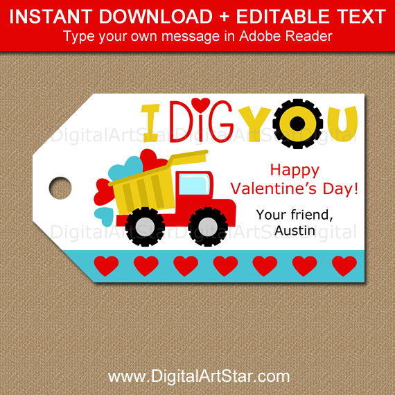 Boy Valentine Dump Truck Tags Instant Download