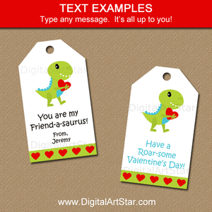 Editable Valentine Hang Tags with Dinosaur