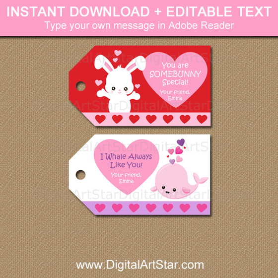 Bunny Valentine Hang Tags and Whale Valentine Gift Tags