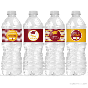 Burgundy Golden Yellow Graduation Party Decorations Water Bottle Wraps