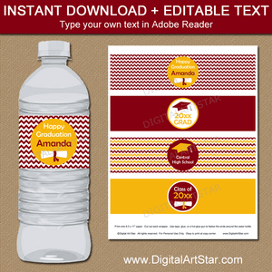 Burgundy and Golden Yellow Graduation Water Bottle Labels Instant Download Editable Template