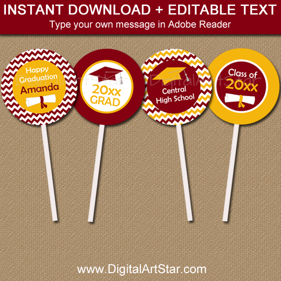 Burgundy and Gold Yellow Graduation Party Decorations
