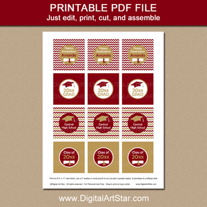 Burgundy and Gold Graduation Cupcake Toppers Template to Print