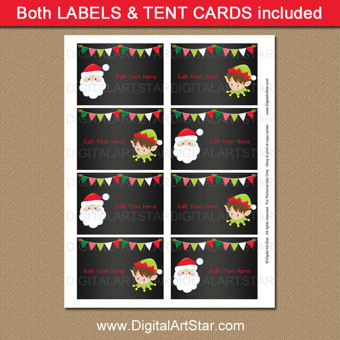 Chalkboard Christmas treat box labels