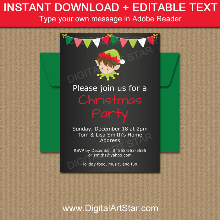 Editable Elf Party Invite