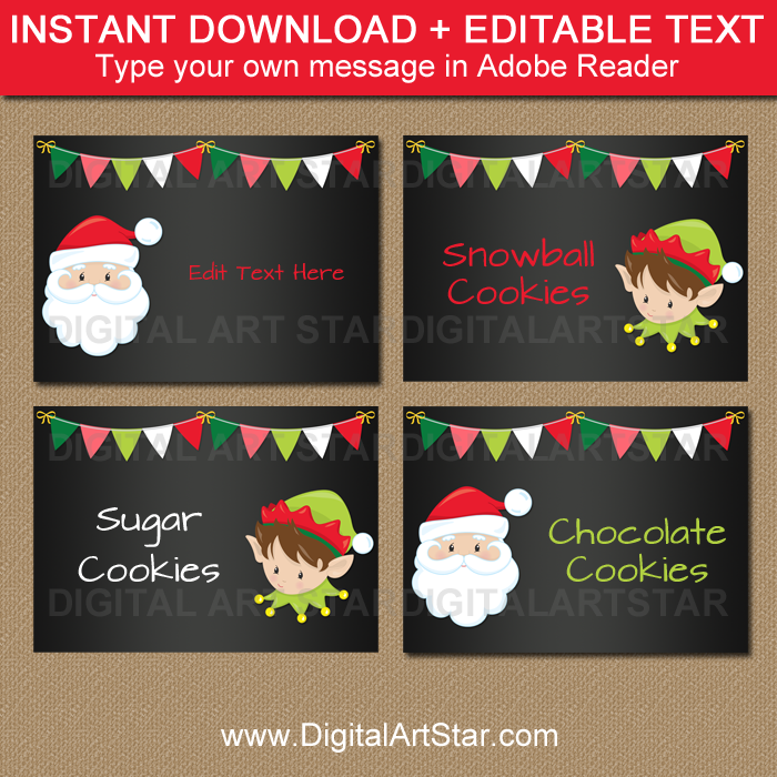 Christmas chalkboard treat box labels