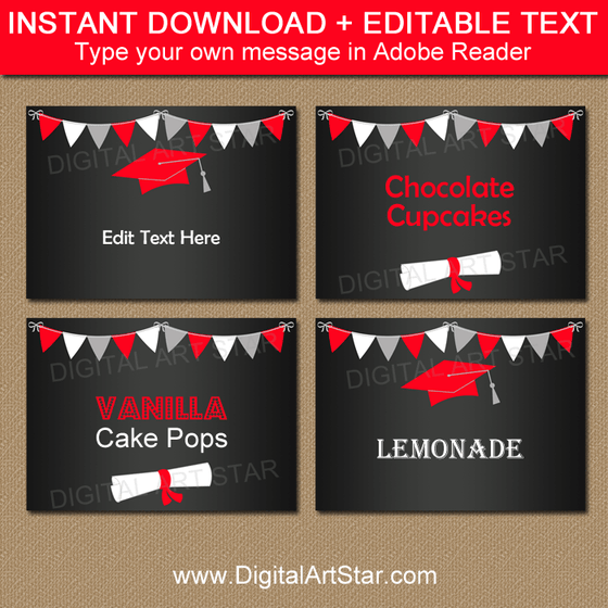 Instant Download Chalkboard Graduation Labels