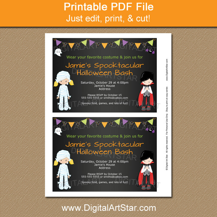 printable halloween invitation for kids with vampire and mummy by digitalartstar