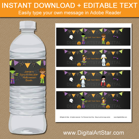 Chalkboard Halloween Water Bottle Label Template