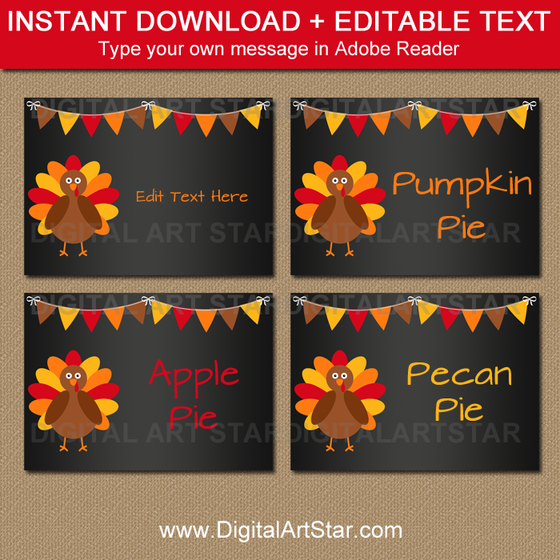 Thanksgiving Candy Buffet Tags with Chalkboard Background